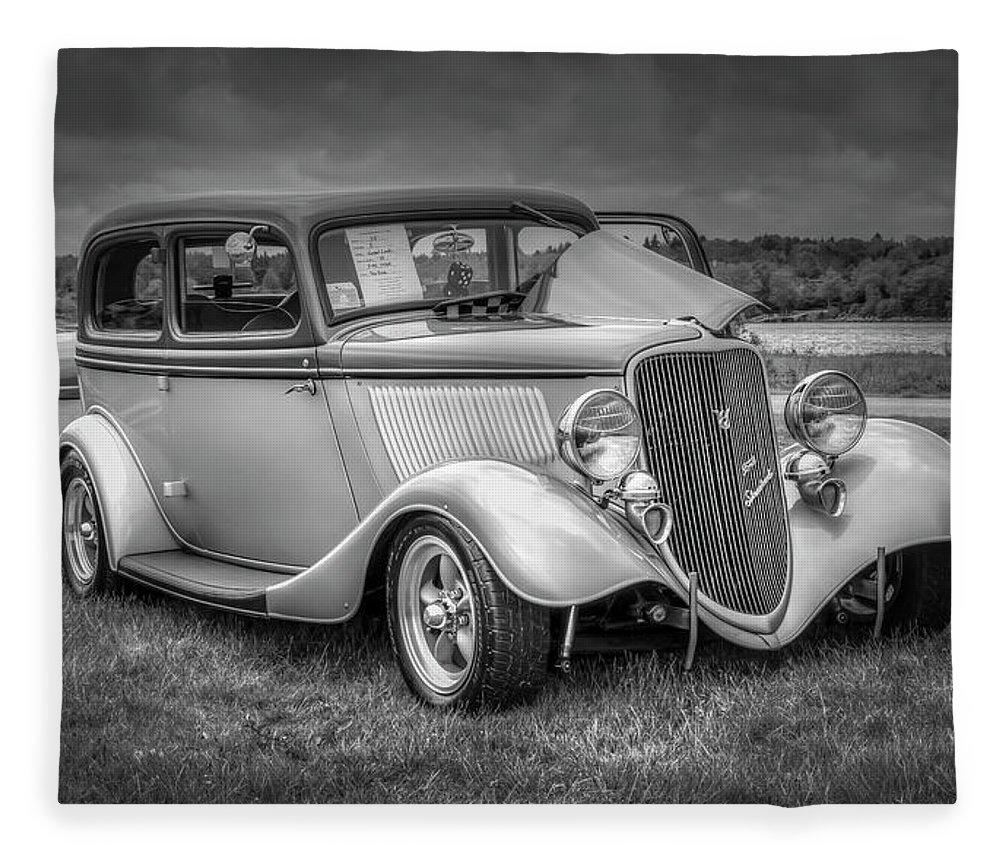 2019 Fleece Blanket featuring the digital art 1933 Ford Tudor Sedan With Trailer by Ken Morris