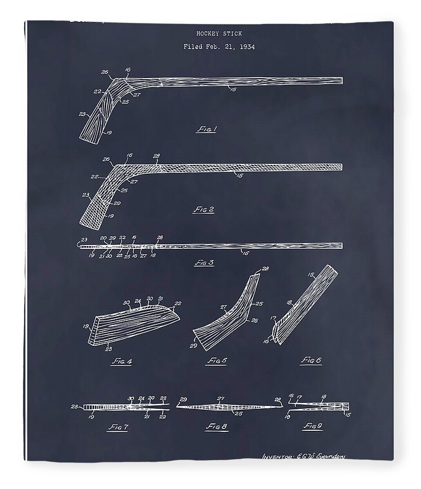 Art & Collectibles Fleece Blanket featuring the drawing 1934 Hockey Stick Patent Print Blackboard by Greg Edwards