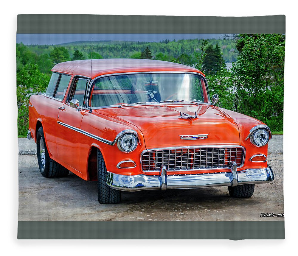 1955 Fleece Blanket featuring the photograph 1955 Chevrolet Bel Air Nomad by Ken Morris