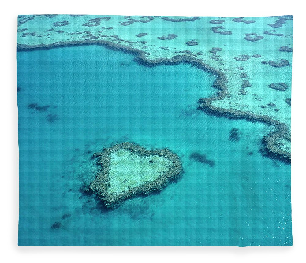 Seascape Fleece Blanket featuring the photograph Aerial Of Heart-shaped Reef At Hardy by Holger Leue