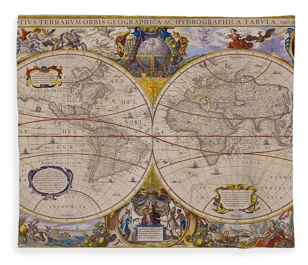Latitude Fleece Blanket featuring the digital art Antique Map Of The World by Comstock