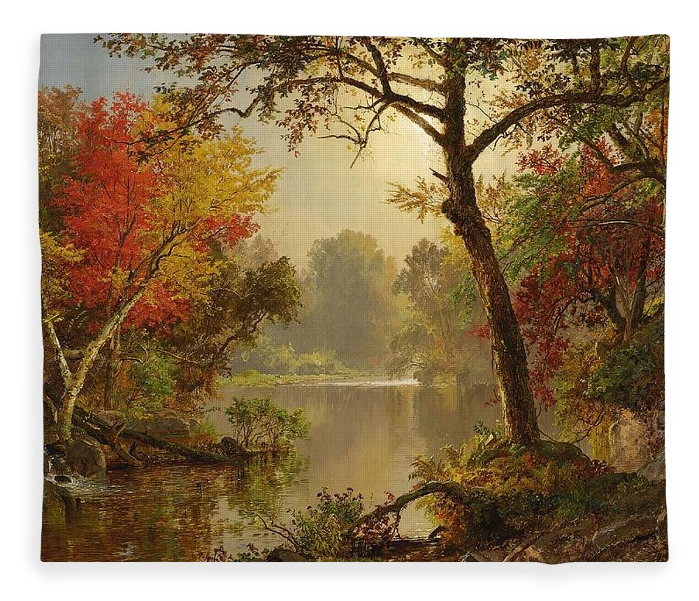 Jasper Francis Cropsey Fleece Blanket featuring the painting Autumn Landscape by Jasper Francis Cropsey