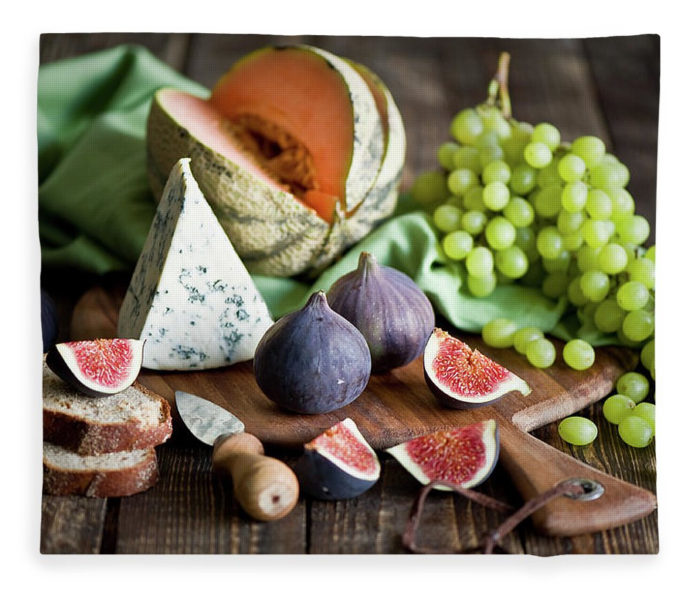 Large Group Of Objects Fleece Blanket featuring the photograph Cheese Board by Verdina Anna