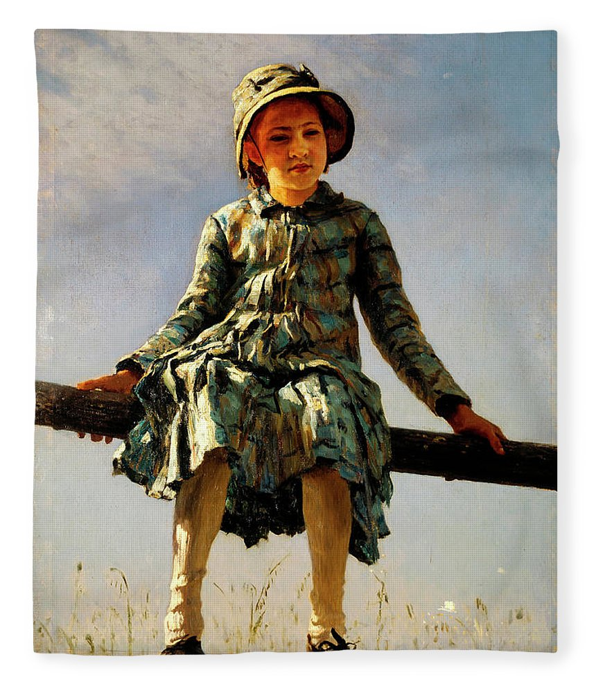 Dragonfly Fleece Blanket featuring the painting Dragonfly, Painter's Daughter Portrait by Ilya Repin