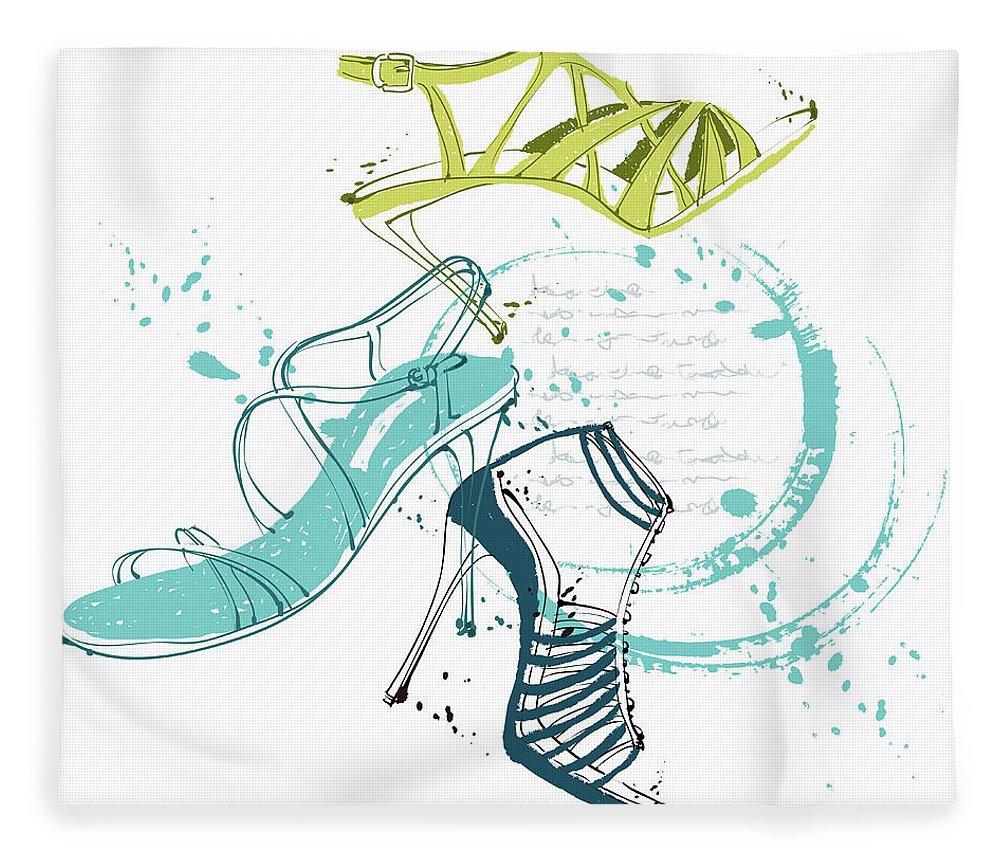 White Background Fleece Blanket featuring the digital art Feminine Shoes by Eastnine Inc.
