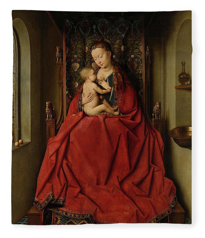 Jan Van Eyck Fleece Blanket featuring the painting Lucca Madonna by Jan van Eyck