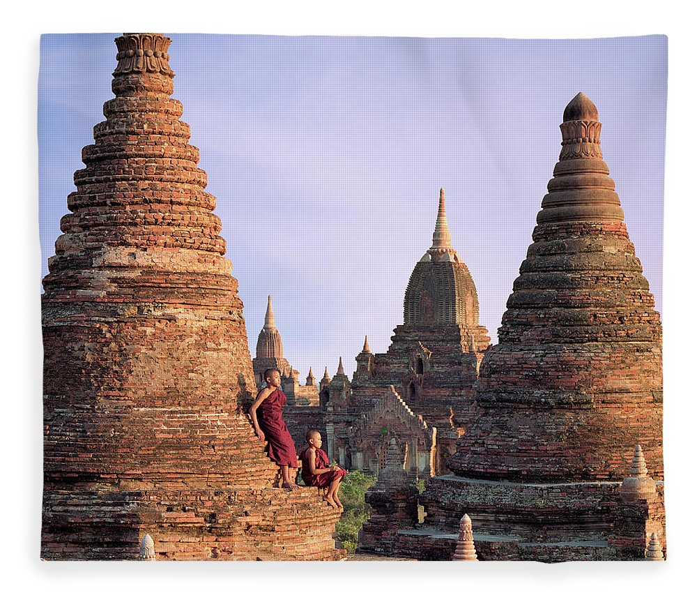 Child Fleece Blanket featuring the photograph Myanmar, Bagan, Buddhist Monks On Temple by Martin Puddy
