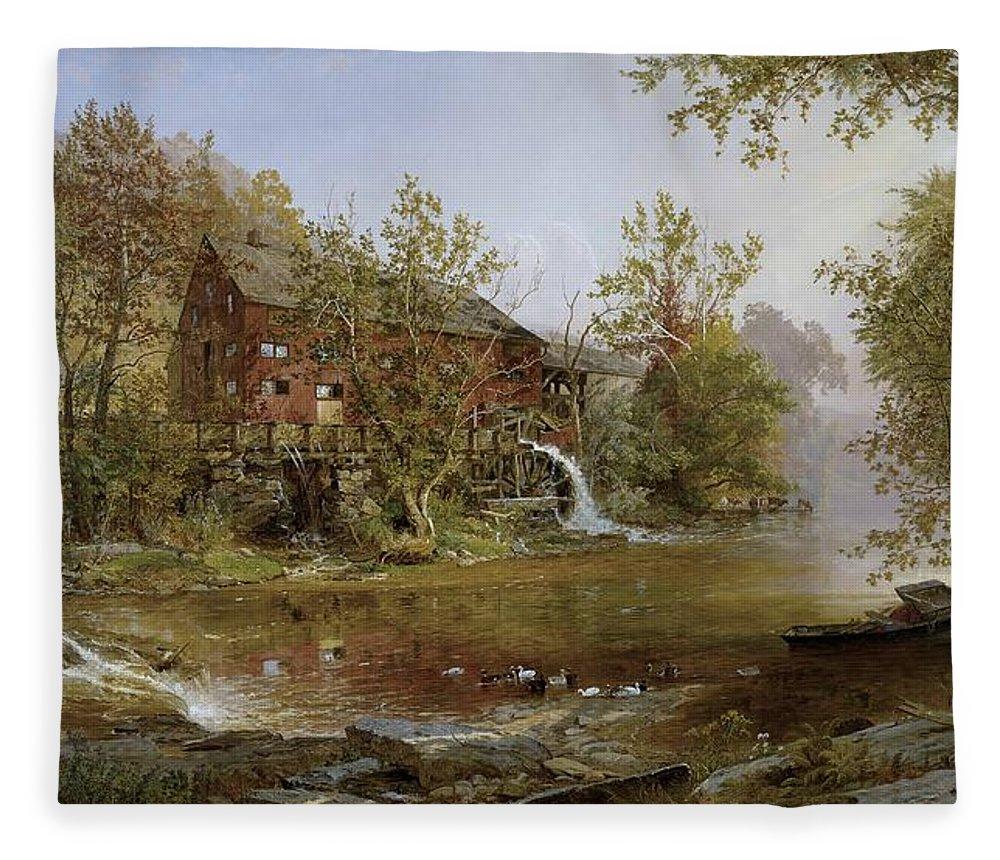 Jasper Francis Cropsey Fleece Blanket featuring the painting The Old Mill by Jasper Francis Cropsey