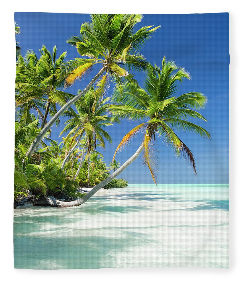 Scenics Fleece Blanket featuring the photograph Tropical Beach Of An Atoll Lagoon And by Pete Atkinson