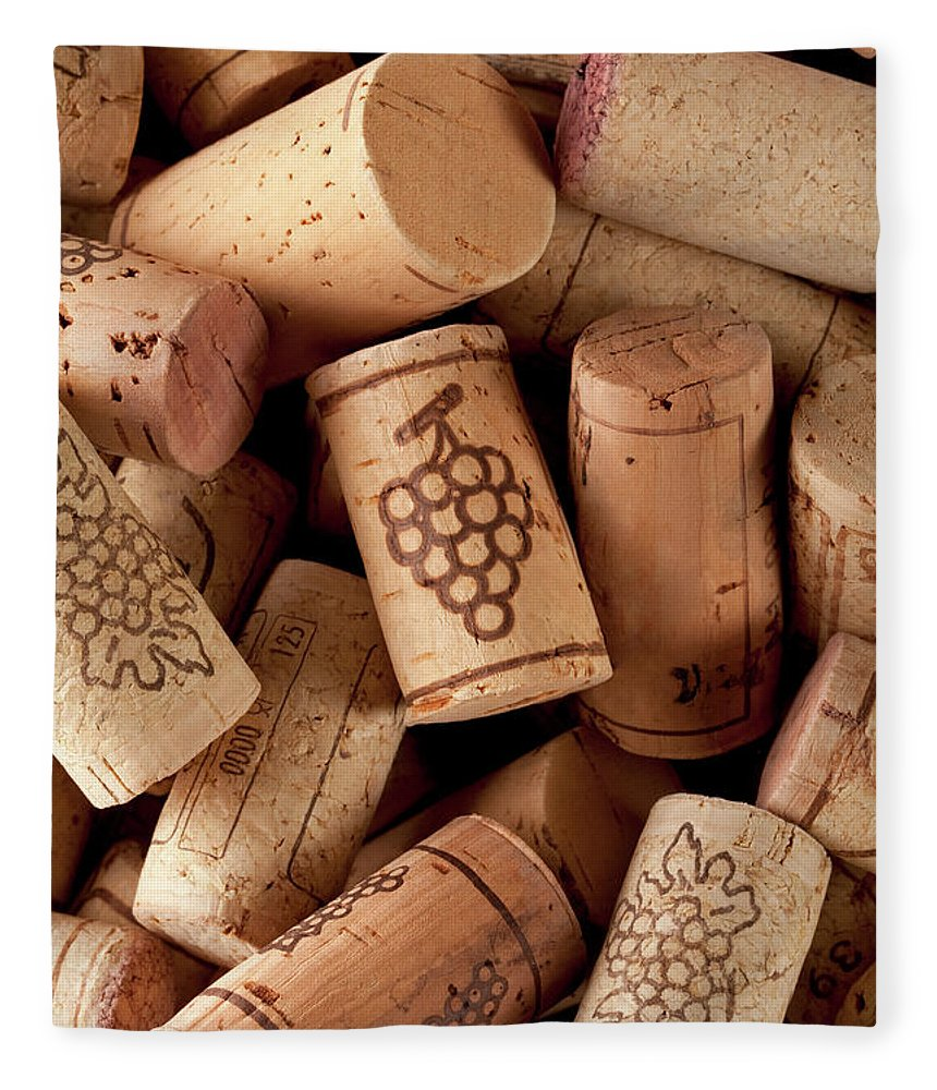 Alcohol Fleece Blanket featuring the photograph Wine Corks by Malerapaso