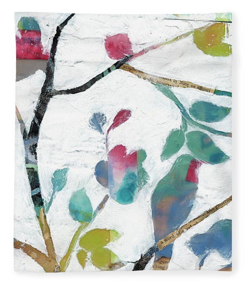 Animals Fleece Blanket featuring the painting Woodland Story Iv by Jennifer Goldberger