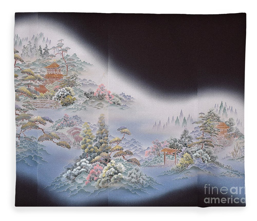 Fleece Blanket featuring the digital art Spirit of Japan T64 by Miho Kanamori