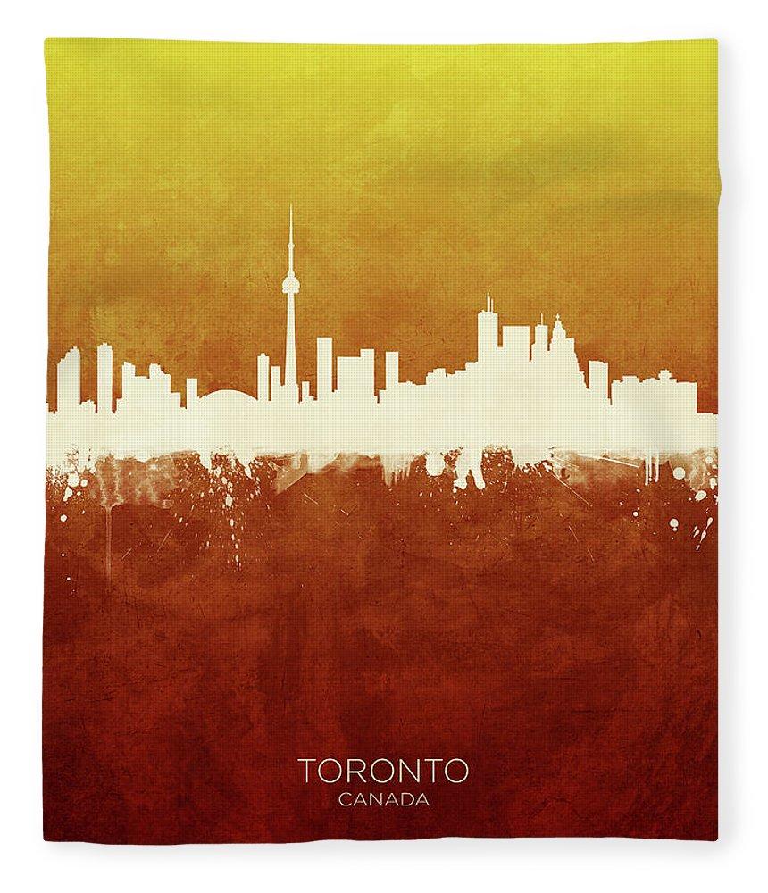 Toronto Fleece Blanket featuring the digital art Toronto Canada Skyline by Michael Tompsett