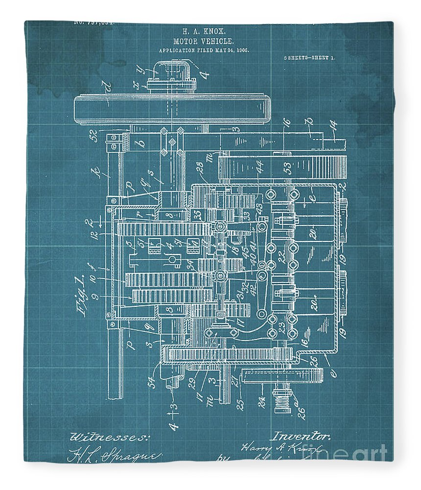 Fleece Blanket featuring the drawing Motor Vehicle Patent Colored Vintage Art Print Year 1905 Blueprint by Drawspots Illustrations