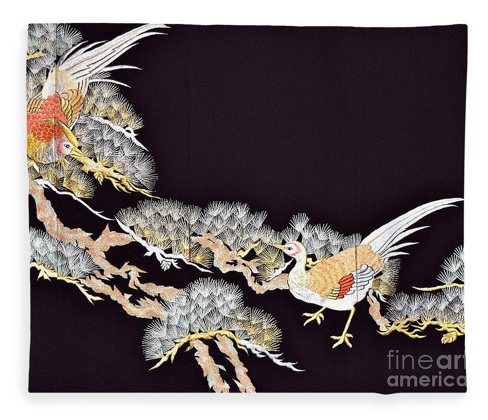 Fleece Blanket featuring the digital art Spirit of Japan T62 by Miho Kanamori