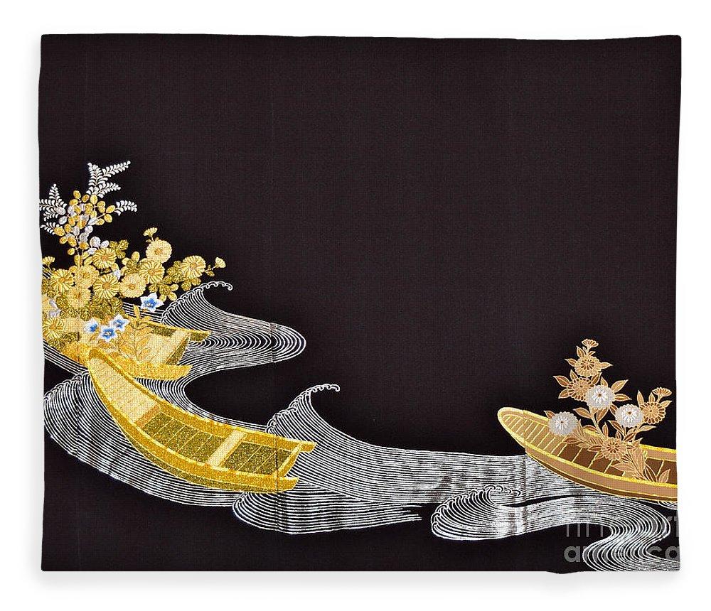Fleece Blanket featuring the digital art Spirit of Japan T61 by Miho Kanamori