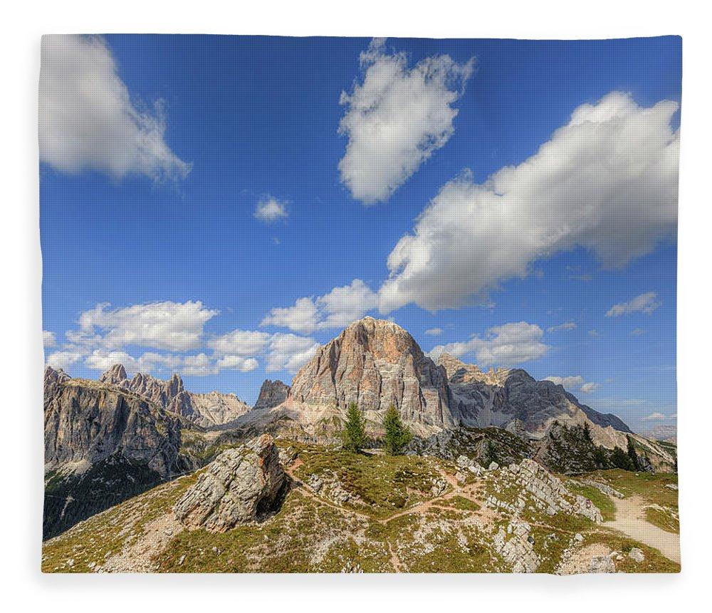 Cinque Torri Fleece Blanket featuring the photograph Cinque Torri, Dolomites - Italy by Joana Kruse