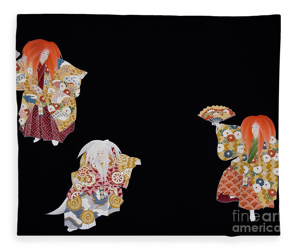 Fleece Blanket featuring the tapestry - textile Spirit of Japan T59 by Miho Kanamori