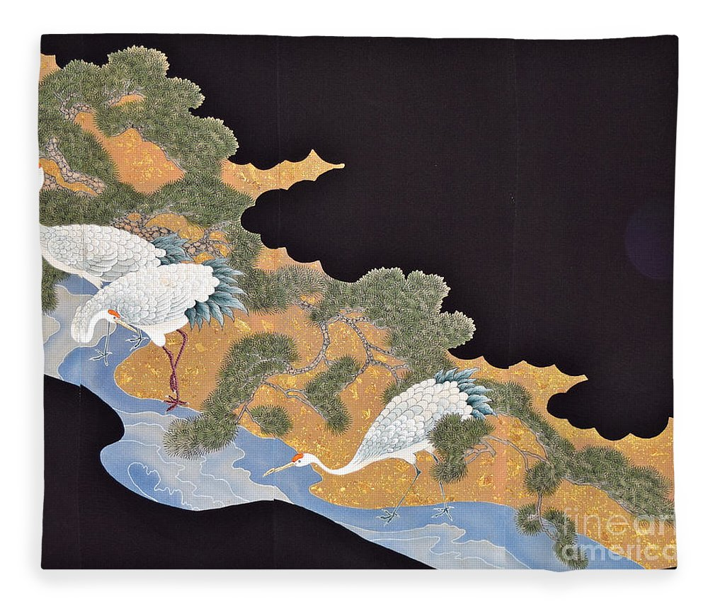 Fleece Blanket featuring the tapestry - textile Spirit of Japan T57 by Miho Kanamori
