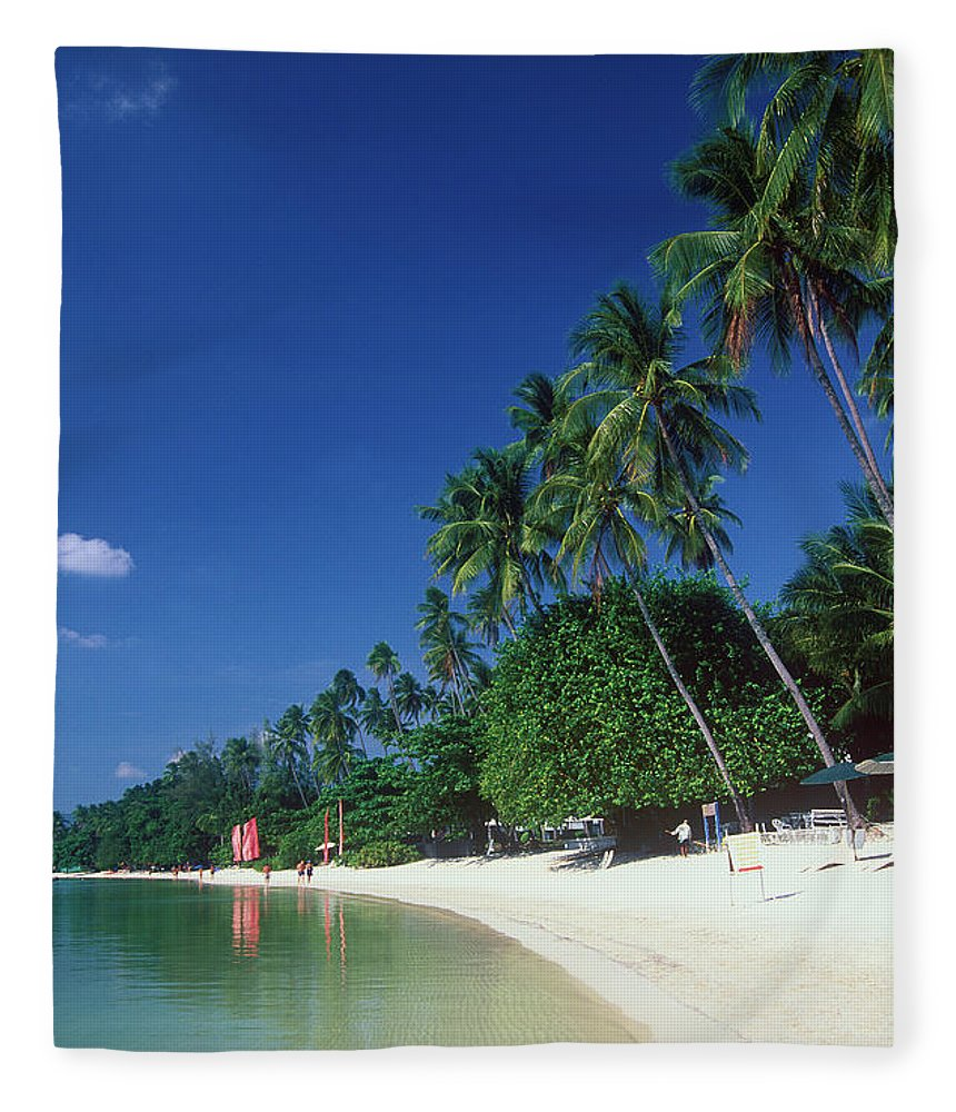 Water's Edge Fleece Blanket featuring the photograph Palm Trees At Sandy Chaweng Beach by Otto Stadler