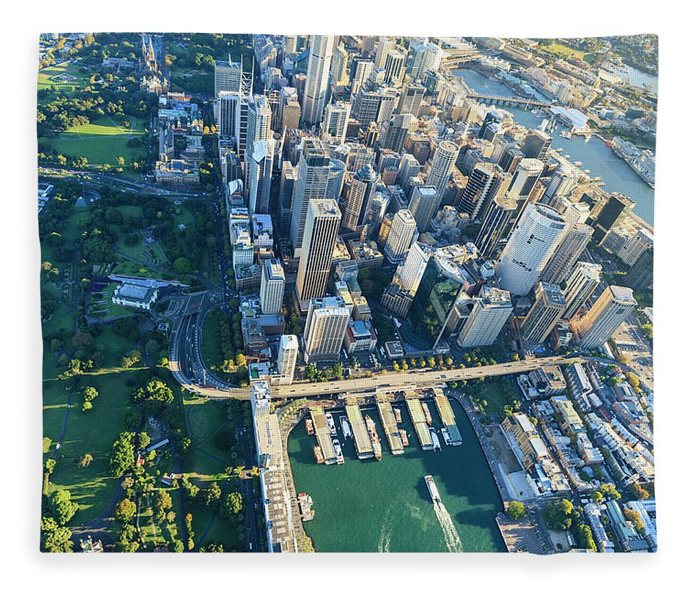 Shadow Fleece Blanket featuring the photograph Sydney Downtown - Aerial View by Btrenkel