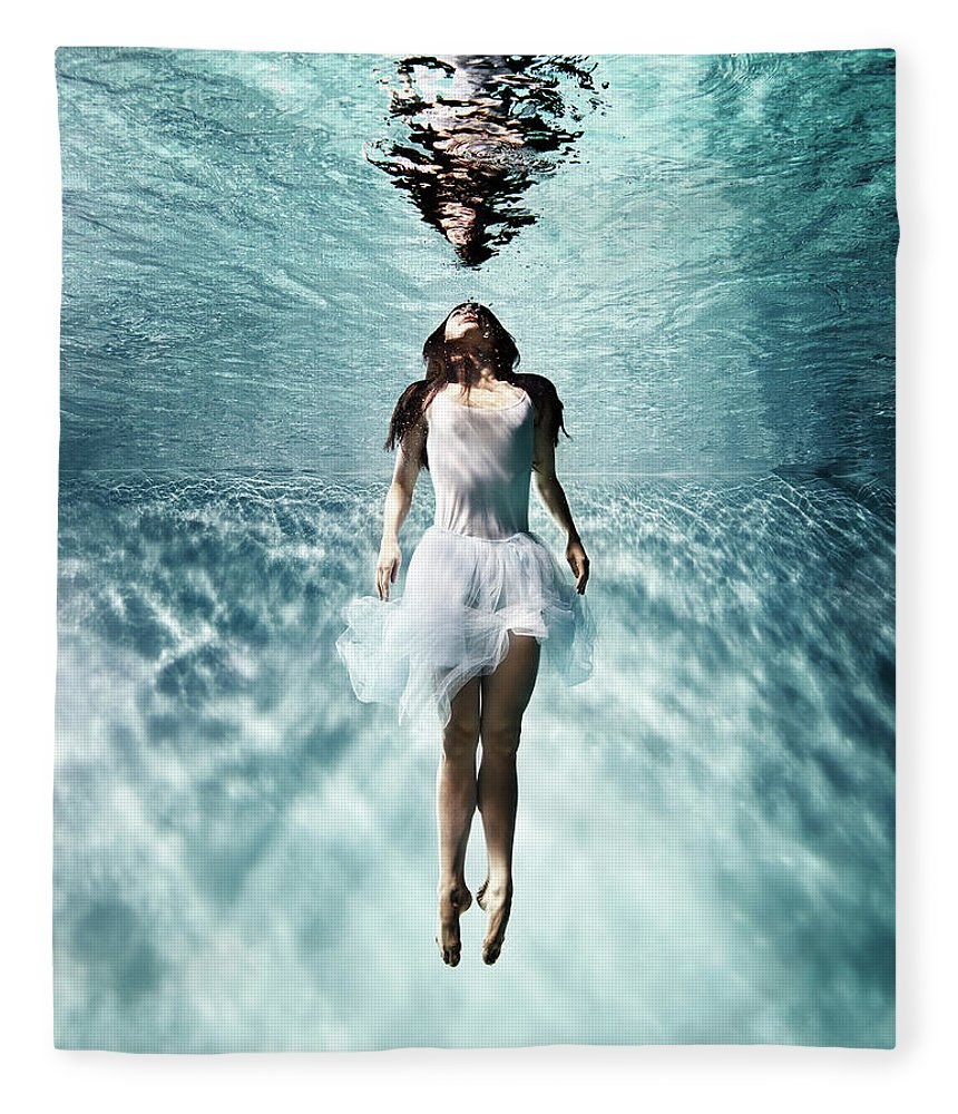 Ballet Dancer Fleece Blanket featuring the photograph Underwater Ballet by Henrik Sorensen