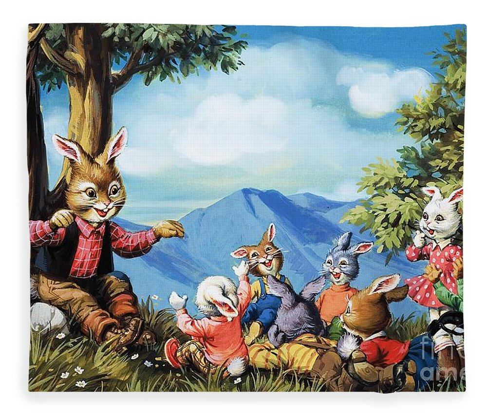 Trees Fleece Blanket featuring the painting Brer Rabbit by Virginio Livraghi