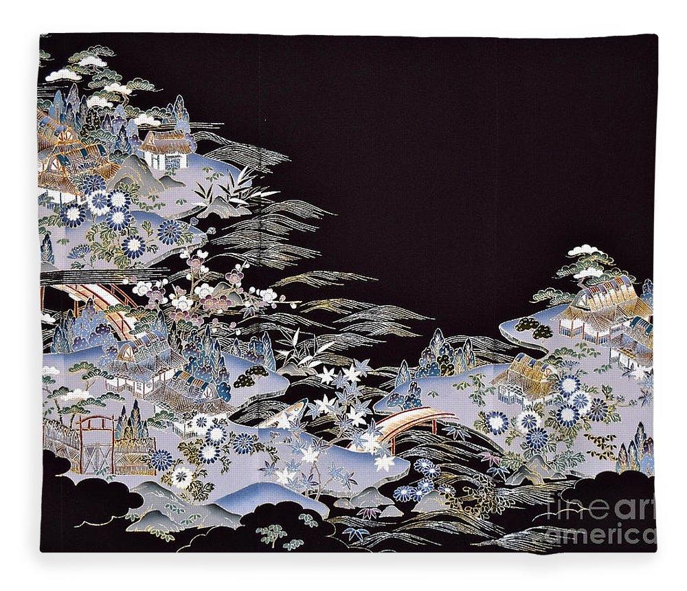 Fleece Blanket featuring the digital art Spirit of Japan T53 by Miho Kanamori