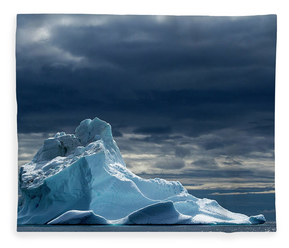 Tranquility Fleece Blanket featuring the photograph Icebergs, Disko Bay, Greenland by Paul Souders