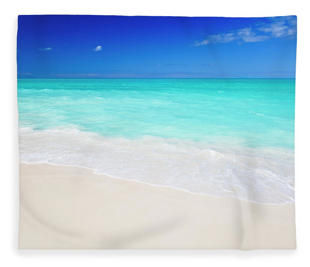 Water's Edge Fleece Blanket featuring the photograph Clean White Caribbean Beach With Blue by Michaelutech