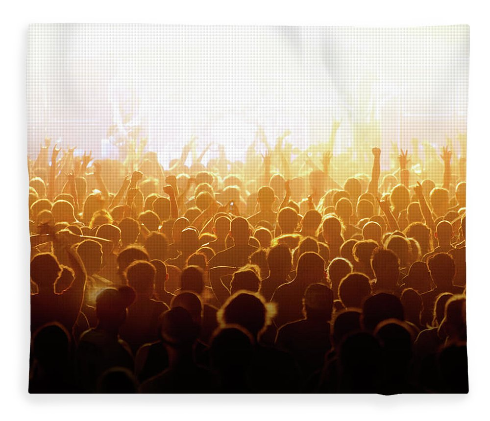 Rock Music Fleece Blanket featuring the photograph Concert Crowd by Alenpopov