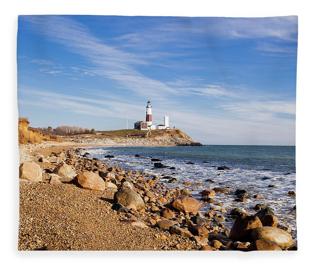 Headland Fleece Blanket featuring the photograph Lighthouse At Montauk Point, Long by Alex Potemkin
