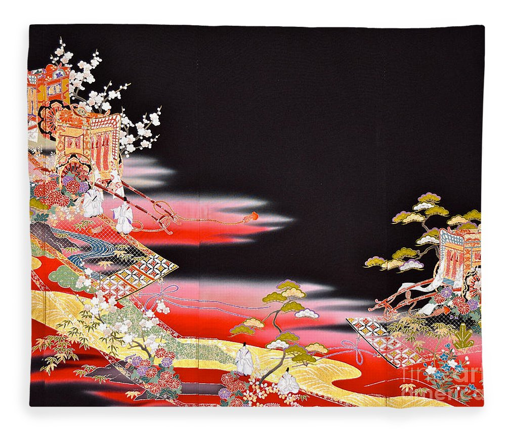 Fleece Blanket featuring the tapestry - textile Spirit of Japan T81 by Miho Kanamori