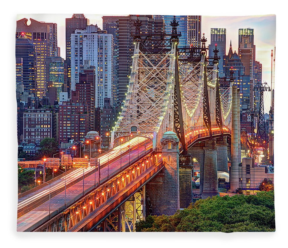 Architectural Column Fleece Blanket featuring the photograph 59th Street Bridge by Tony Shi Photography