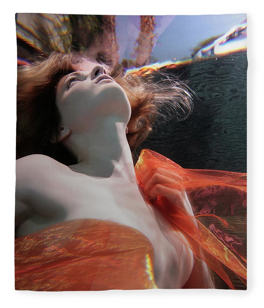 Tranquility Fleece Blanket featuring the photograph Caucasian Woman In Dress Swimming Under by Ming H2 Wu