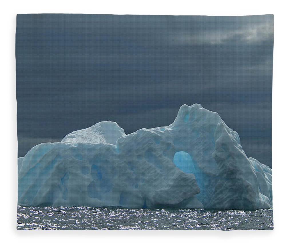 Iceberg Fleece Blanket featuring the photograph Iceberg Along The Antarctic Peninsula by Mint Images - David Schultz