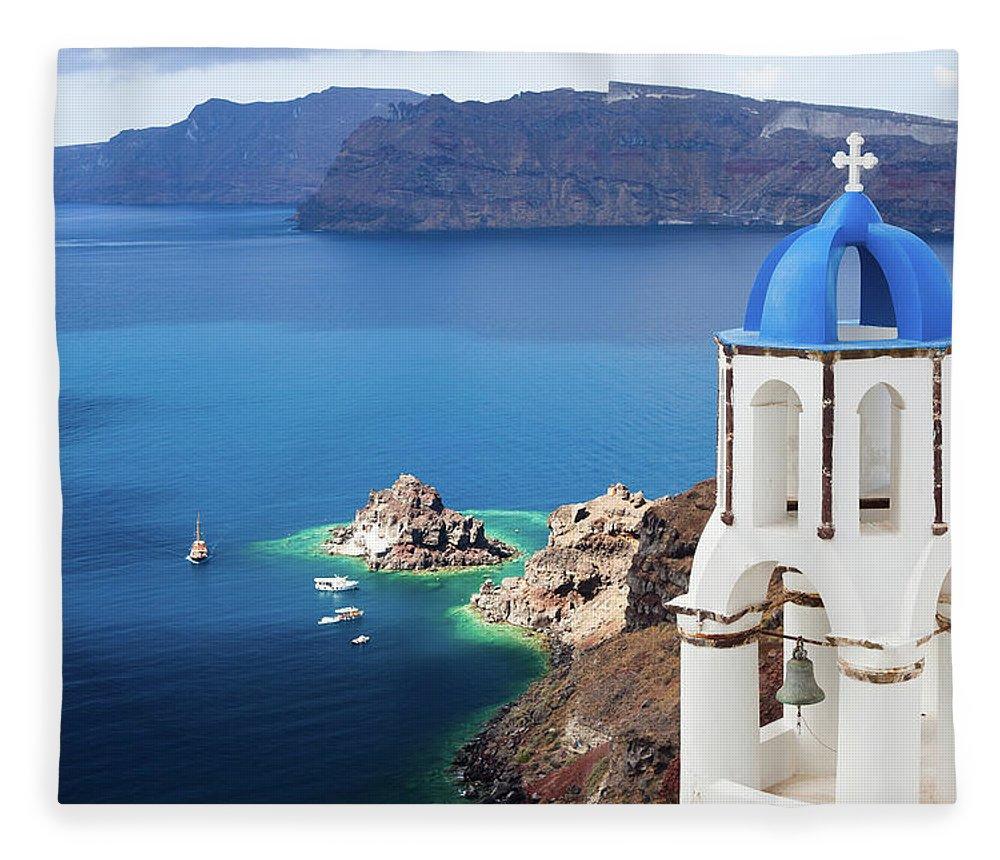Greek Culture Fleece Blanket featuring the photograph Santorini, Greece by Traveler1116