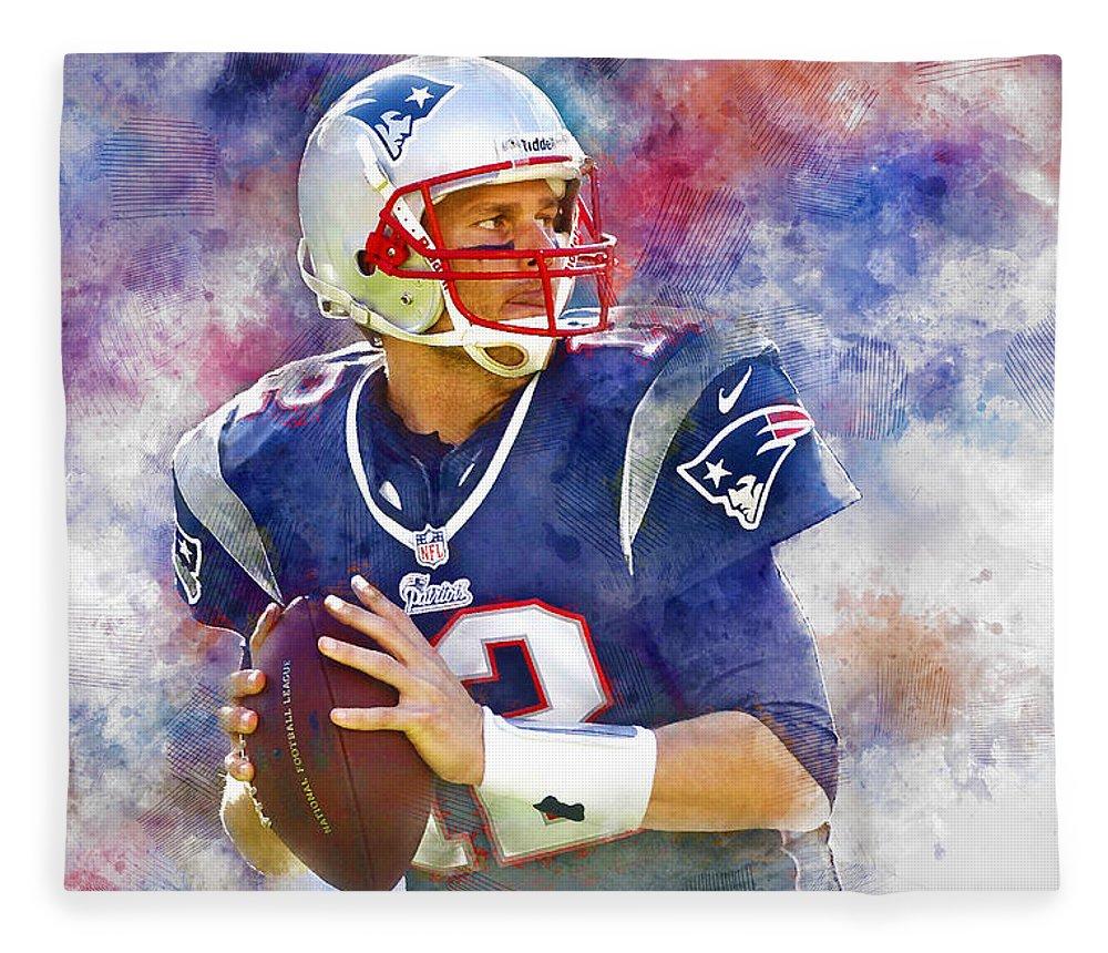 Tom Brady Fleece Blanket featuring the mixed media Tom Brady by Marvin Blaine