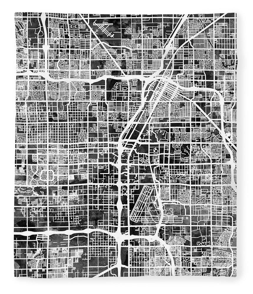 Las Vegas Fleece Blanket featuring the digital art Las Vegas City Street Map by Michael Tompsett