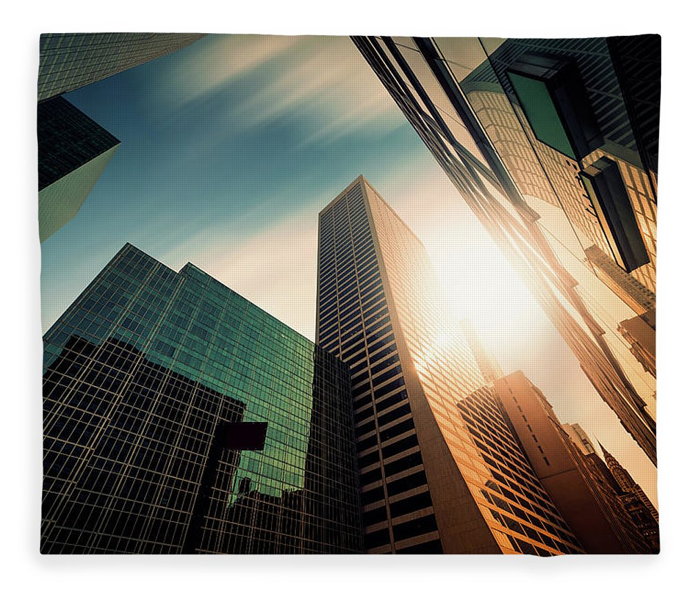 Working Fleece Blanket featuring the photograph Office Skysraper In The Sun by Ppampicture