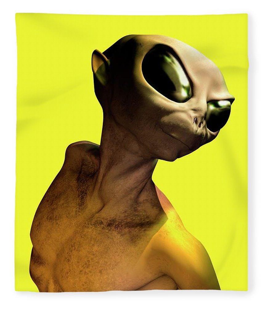 Looking Over Shoulder Fleece Blanket featuring the digital art Alien, Artwork by Victor Habbick Visions