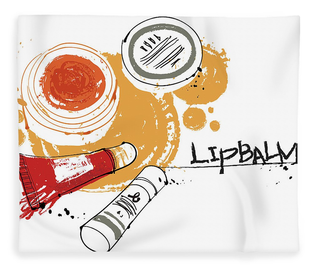 White Background Fleece Blanket featuring the digital art Cosmetics by Eastnine Inc.