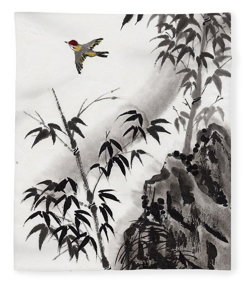 Scenics Fleece Blanket featuring the digital art A Bird And Bamboo Leaves, Ink Painting by Daj