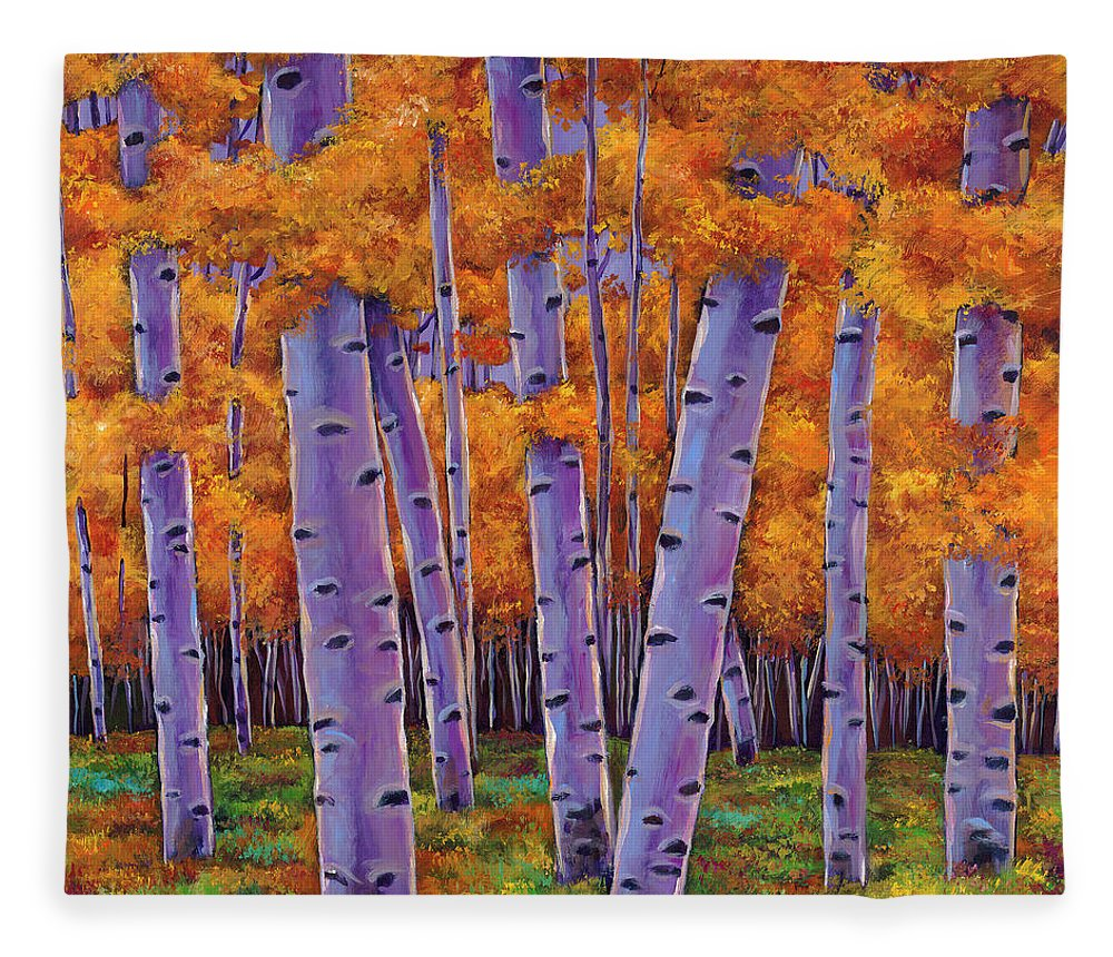Aspen Trees Fleece Blanket featuring the painting A Chance Encounter by Johnathan Harris