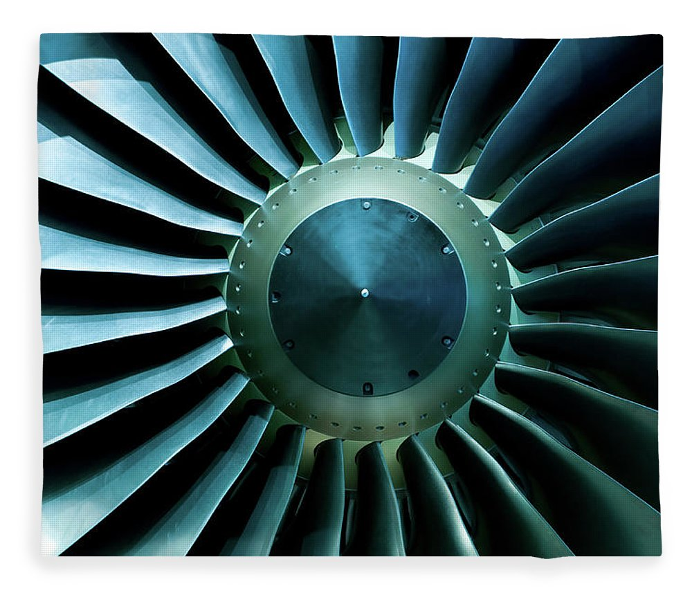 Material Fleece Blanket featuring the photograph A Close Of Up A Turbine Showing The by Brasil2