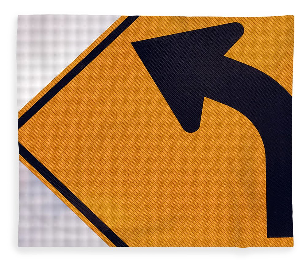 Curve Fleece Blanket featuring the photograph A Curve Ahead Road Sign Warning by Martin Ruegner