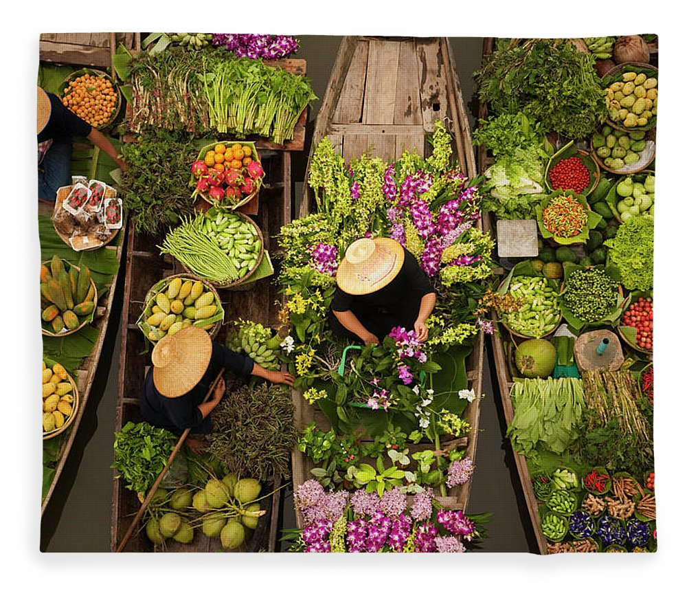People Fleece Blanket featuring the photograph A Floating Market On A Canal In by Mint Images - Art Wolfe