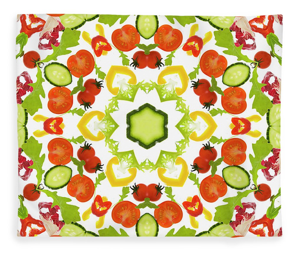 White Background Fleece Blanket featuring the photograph A Kaleidoscope Image Of Salad Vegetables by Andrew Bret Wallis