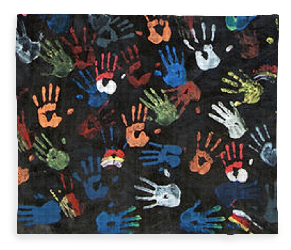 Child Fleece Blanket featuring the photograph A Painting Of Colorful Handprints by Khananastasia