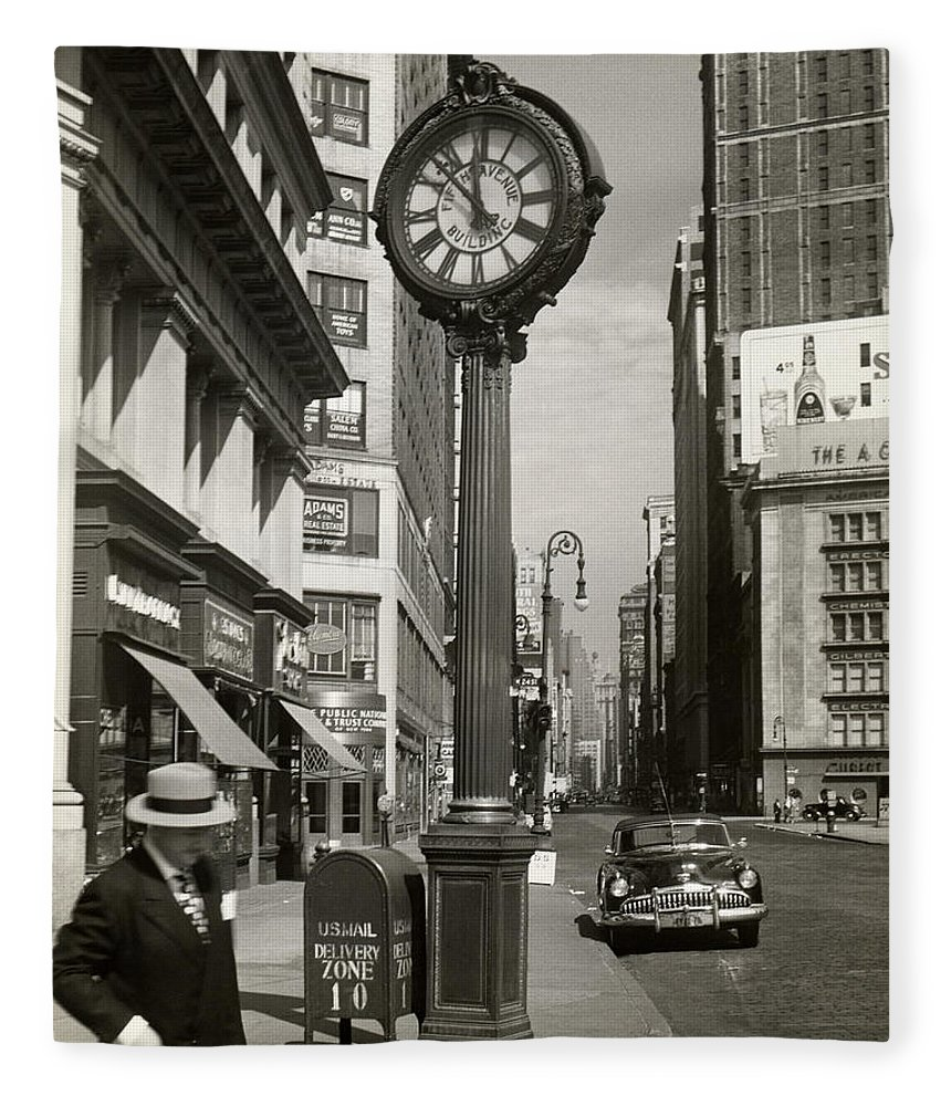 Public Mailbox Fleece Blanket featuring the photograph A Street Clock On Fifth Ave., Nyc by George Marks